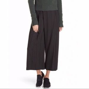 Vince Cropped Culottes: Black with White Pinstripe